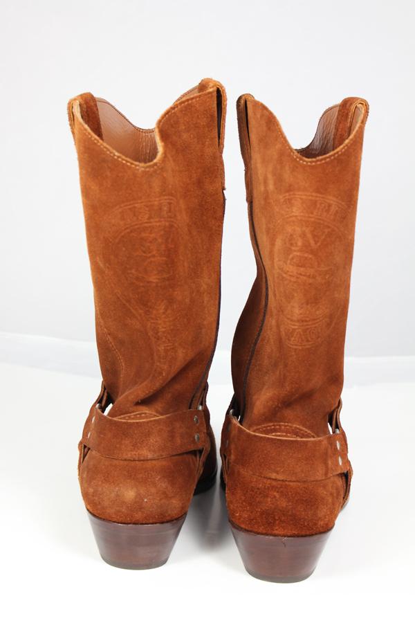 Kavbojski semiš rjavi škornji zadaj
