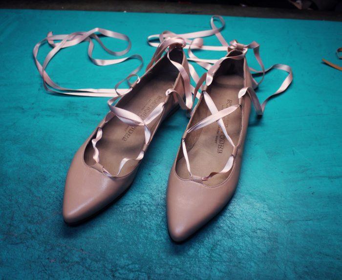 Roza usnjene balerine